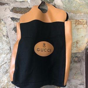 Gucci Vtg Black Felt/Brown Leather Shoppers Tote